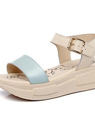 Damen Sandalen Komfort Echtes Leder PU Sommer Normal Beige Blau Rosa 2,5 - 4,5 cm