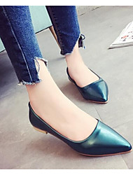 Women's Flats Comfort Summer Real Leather PU Casual Black Green Blushing Pink Under 1in