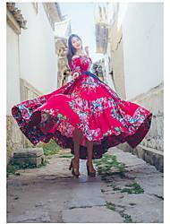 Для женщин На каждый день Секси Богемный Шинуазери (китайский стиль) С летящей юбкой Платье С принтом,Асимметричный вырез МаксиС