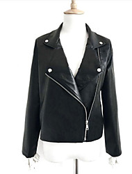 Women's Casual/Daily Simple Fall Leather Jacket,Solid Peter Pan Collar Long Sleeve Short PU