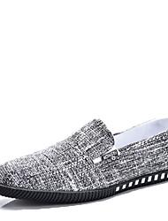 Men's Athletic Shoes Comfort Spring Fall Winter PU Casual Flat Heel Black Blue Khaki Flat