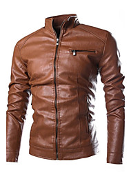 Men's Casual/Daily Simple Winter Leather Jacket,Solid Stand Long Sleeve Regular PU