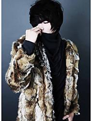 Masculino Casaco de Pêlo Casual Trabalho Simples Inverno,Estampado Padrão Pêlo de Coelho Decote Redondo Manga Longa
