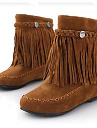 Women's Boots Bootie Fall Winter PU Casual Flat Heel Black Brown Ruby Under 1in