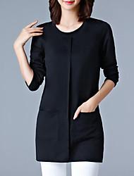 Damen Solide Einfach Lässig/Alltäglich Übergröße T-shirt,Rundhalsausschnitt Herbst Winter Langarm Polyester Mittel