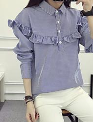 Camicia Da donna Per uscire Casual Semplice A strisce Colletto italiano visibile Cotone Manica lunga
