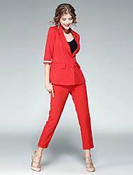 Chemise Pantalon Costumes Femme,Rayé Travail Chic de Rue Automne Manches ¾ Col Rond Claudine non élastique