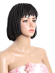 Short Bob Wig Synthetic Heat Resistant Black Brown Box Braid Wigs for Black Women 10inch