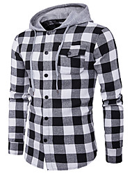 Men's Casual/Daily Work Simple Spring Fall Shirt,Plaid Hooded Long Sleeve Polyester