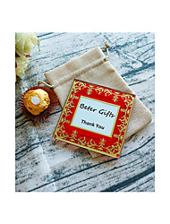 Imperial Exquisite Glass Photo Coaster in Burlap Bag DIY Party Favors Beter Gifts® Life Style