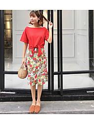 Damen Blumen Einfach Ausgehen Lässig/Alltäglich T-Shirt-Ärmel Rock Anzüge,Bateau Sommer Kurzarm Mikro-elastisch