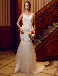 Mermaid / Trumpet V-neck Sweep / Brush Train Lace Tulle Wedding Dress with Crystal Detailing Flower(s) by LAN TING BRIDE®