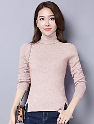 Normal Pullover Femme Décontracté / Quotidien Couleur Pleine Col Roulé Manches Longues Coton Autres Automne Hiver Moyen Non Elastique