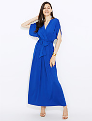 Women's Plus Size / Casual/Daily Simple / Street chic Grace Bow Bandage Slim Sheath DressSolid V Neck Maxi Short Sleeve