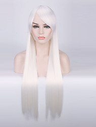 Women Synthetic Wig Capless Long Straight White Cosplay Wigs Costume Wig
