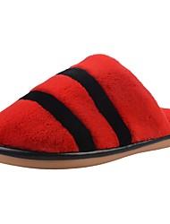 Damen Schuhe Samt Winter Komfort Pelzfutter Flaum Futter Slippers & Flip-Flops Niedriger Absatz Runde Zehe Kombination Für Normal Pink
