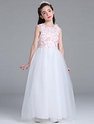 принцесса этаж длина цветок девушка платье - атласная сетка без рукавов жемчужина шеи с аппликациями by baihe