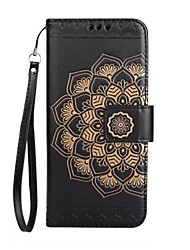 For iPhone X iPhone 8 iPhone 8 Plus Case Cover Wallet Card Holder Flip Embossed Pattern Full Body Case Mandala Flower Hard PU Leather for