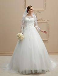 A-Line Jewel Neck Cathedral Train Lace Tulle Wedding Dress with Pearl Appliques Lace Button by LAN TING BRIDE®