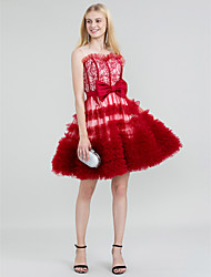 Corte en A Princesa Joya Corta / Mini Encaje Tul Fiesta de Cóctel Vestido con Lazo(s) Cinta / Lazo A Capas por TS Couture®
