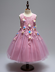 принцесса длина колена платье девушки цветка - атласная сетка безрукавная жемчужина шеи by baihe