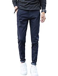 Men's Mid Rise Micro-elastic Skinny Chinos PantsSimple Slim Solid WL-M19