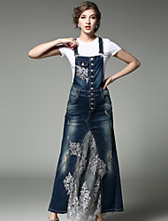 Women's Going out Casual/Daily Street chic Spring Fall T-shirt Skirt SuitsEmbroidery Round Neck Short Sleeve Denim Jacquard Inelastic