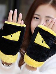Для женщин Аксессуары На каждый день Мультяшная тематика Зимние перчатки Сохраняет тепло Мода До запястья Полупальцами,Зима Шерсть Хлопок