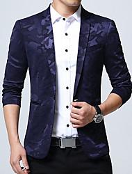 Men's Plus Size Work Simple Spring Fall Blazer,Camouflage Shirt Collar Long Sleeve Regular Cotton Acrylic