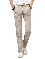 Hombre Sencillo Tiro Medio Microelástico Chinos Pantalones,Corte Recto Un Color