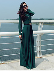 Women's Going out Beach Holiday Boho Street chic Sheath Dress,Solid Crew Neck Maxi Long Sleeves Cotton All Seasons High Rise Micro-elastic