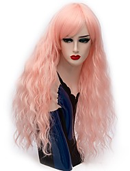 Women Synthetic Wig Capless Long Deep Wave Gold Pink Yellow Blue Red Grey Halloween Wig Costume Wigs