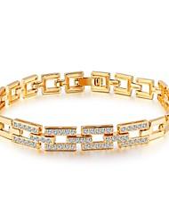 Mulheres Pulseiras em Correntes e Ligações Zircônia Cubica Básico Moda Adorável Jóias de Luxo Zircão Chapeado Dourado Formato de Linha