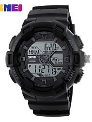 SKMEI Муж. Спортивные часы электронные часы Цифровой Календарь Защита от влаги С двумя часовыми поясами Хронометр Фосфоресцирующий PU