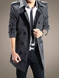 Men's Casual/Daily Simple Fall Winter Trench Coat,Solid Notch Lapel Long Sleeve Long Faux Fur Polyester