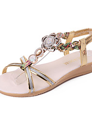 Women's Shoes PU Spring Summer Gladiator Comfort Sandals Flat Heel Open Toe Rhinestone Imitation Pearl Buckle For Dress Silver Gold