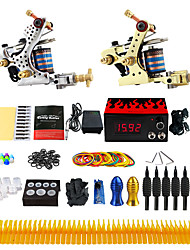 Complete Tattoo Kit 2 cast iron machine liner & shader 2 Tattoo Machines LCD power supply Inks Shipped Separately