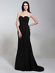 Mermaid / Trumpet Strapless Sweetheart Sweep / Brush Train Chiffon Military Ball Dress with Criss Cross by TS Couture®