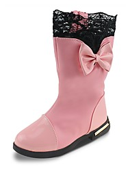 Girls' Shoes Leatherette Fall Winter Snow Boots Fashion Boots Boots Bowknot Chain For Party & Evening Dress Blushing Pink Red Black