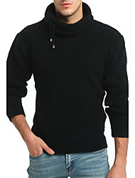Men's Sports Casual/Daily Vintage Simple Regular Pullover,Solid Turtleneck Long Sleeves Wool Cotton Rayon Fall Winter Thick Micro-elastic