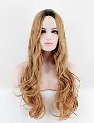 Kylie Jenner Style Long Choppy Wave Hair Wig Black Root Blonde Mix Ombre Wig