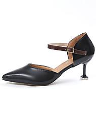 Damen Schuhe PU Frühling Sommer Komfort Pumps High Heels Stöckelabsatz Spitze Zehe Schnalle Für Kleid Schwarz Beige Dunkelbraun