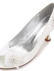Women's Wedding Shoes Basic Pump Comfort Spring Summer Satin Wedding Party & Evening Dress Rhinestone Applique Beading Sparkling Glitter