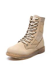 Women's Boots Combat Boots Fall Winter PU Casual Dress Flat Heel Khaki 1in-1 3/4in