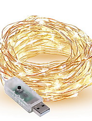 1.5W Cuerdas de Luces 300 lm <5V V 10 m 100 leds Blanco cálido Blanco Rojo Amarillo Azul Verde Púrpura Rosado Multicolor