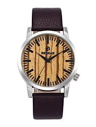 Homens Mulheres Relógio de Moda Relógio Madeira Japanês Quartzo de madeira Couro Legitimo Banda Pendente Casual Marrom