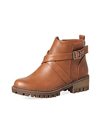 Women's Shoes PU Fall Winter Comfort Boots Chunky Heel Round Toe Buckle Zipper For Outdoor Office & Career Khaki Brown Black