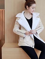 Пальто Простое На подкладке Для женщин,Однотонный На каждый день Шерсть Другое Шерсть,Длинный рукав