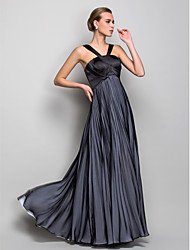 A-Line Halter Floor Length Chiffon Formal Evening Military Ball Dress with Pleats Criss Cross by TS Couture®