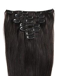 полный головной 100% remy зажим в наращивании волос человеческих волос 100grams (7pcs / set&8pcs / set) шелковистые прямые цветные